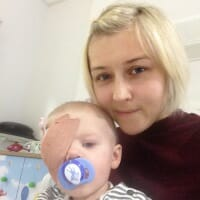 CHECT photo - Noah after his surgery with mum Gemma