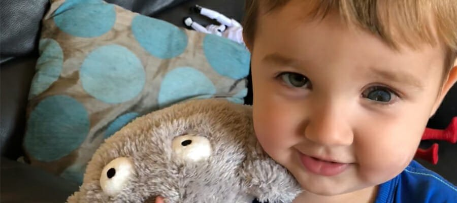 Photograph of Logan who was diagnosed with retinoblastoma aged 2.