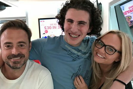 CHECT photo - Theo Sergiou with radio presenters Jamie Theakston and Emma Bunton