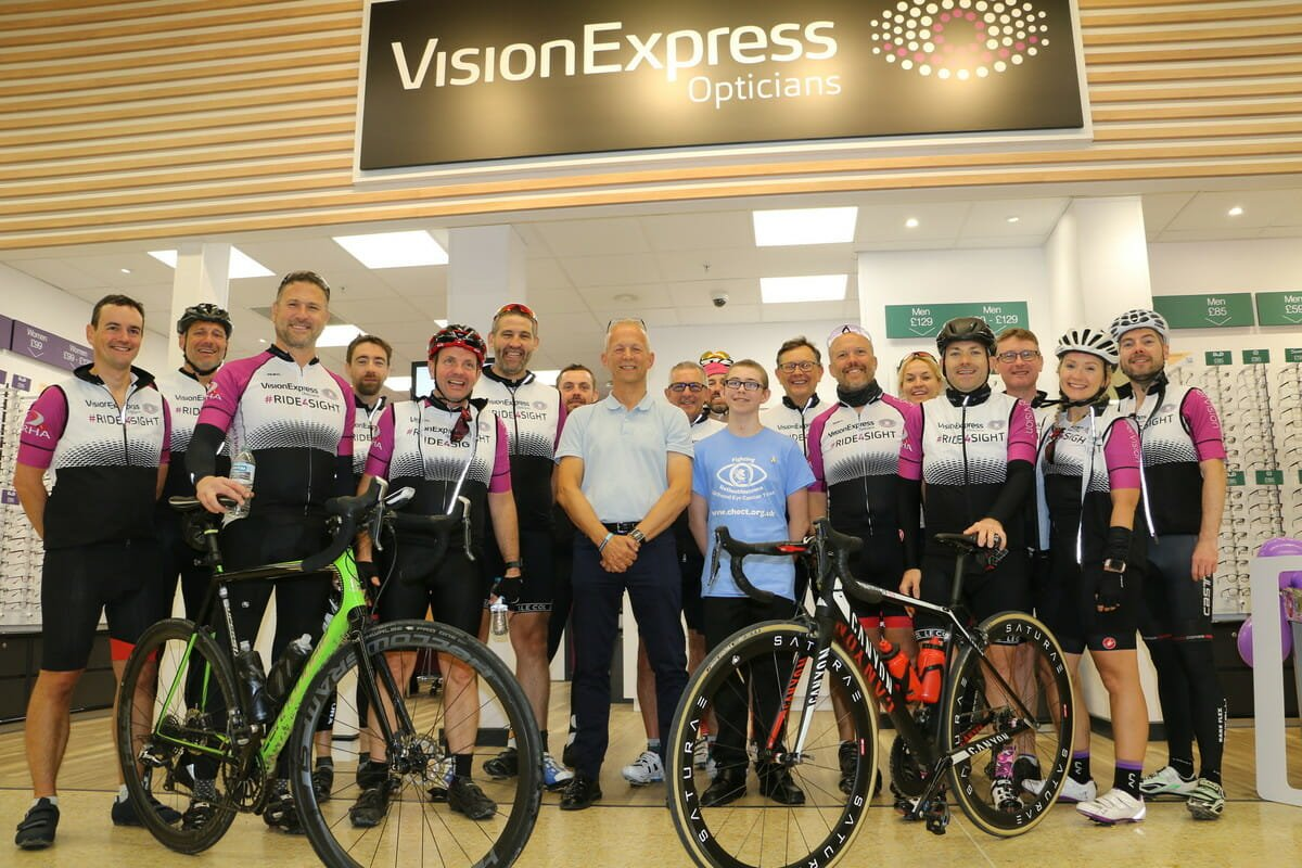 Photo of the cyclists with CHECT CEO Patrick Tonks
