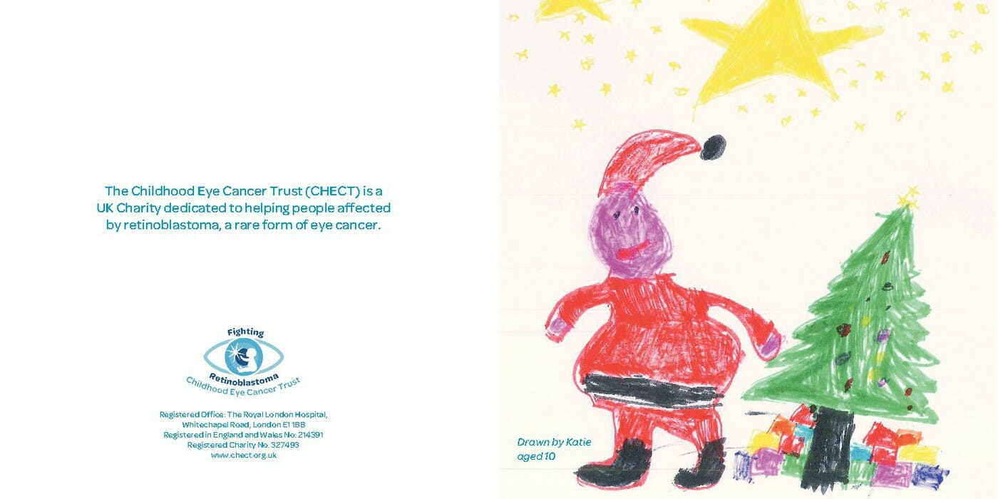 Christmas e-Card - Father Christmas standing next to a tree with a yellow star above him