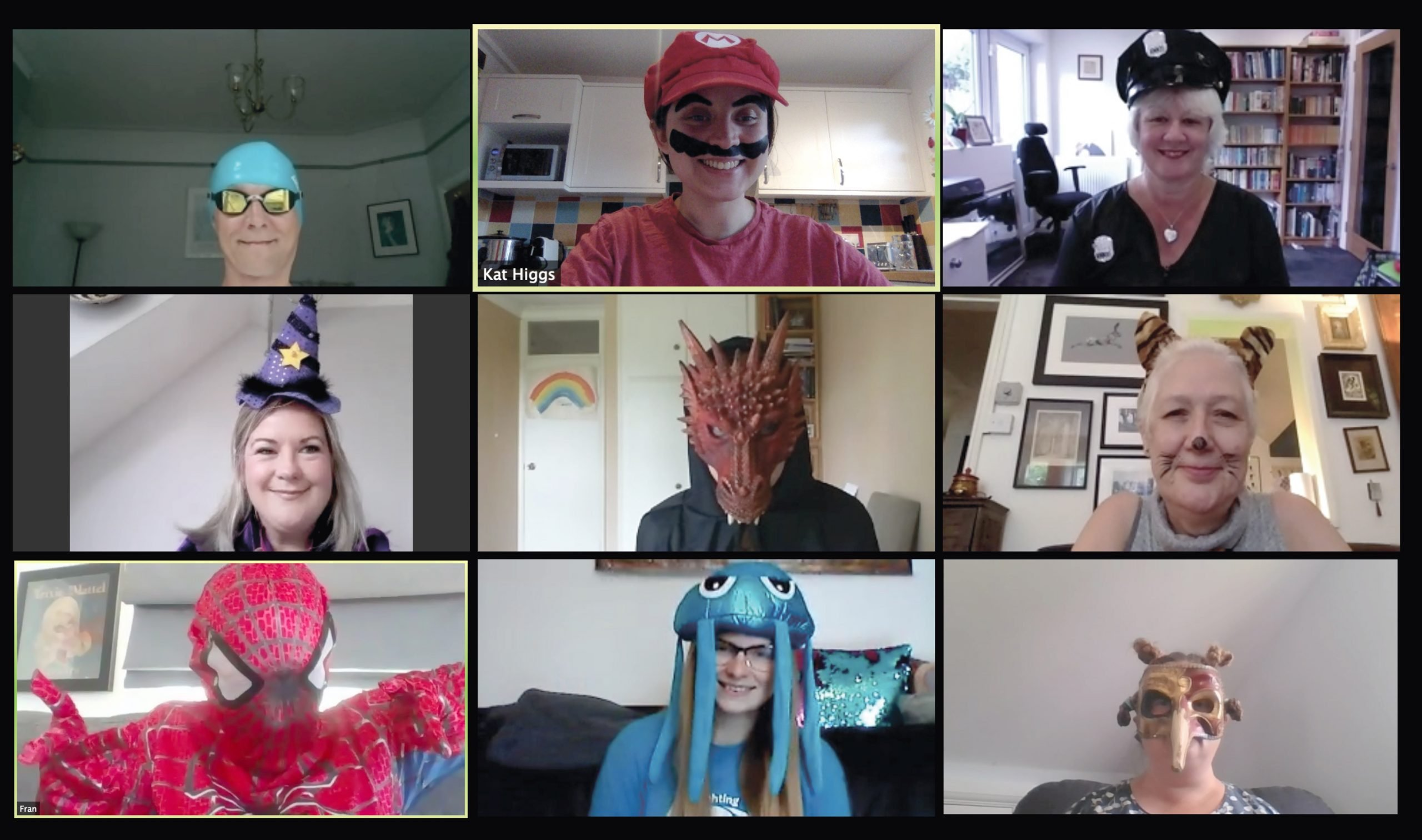 a screen shot of the CHECT team wearing fancy dress on a Zoom call.