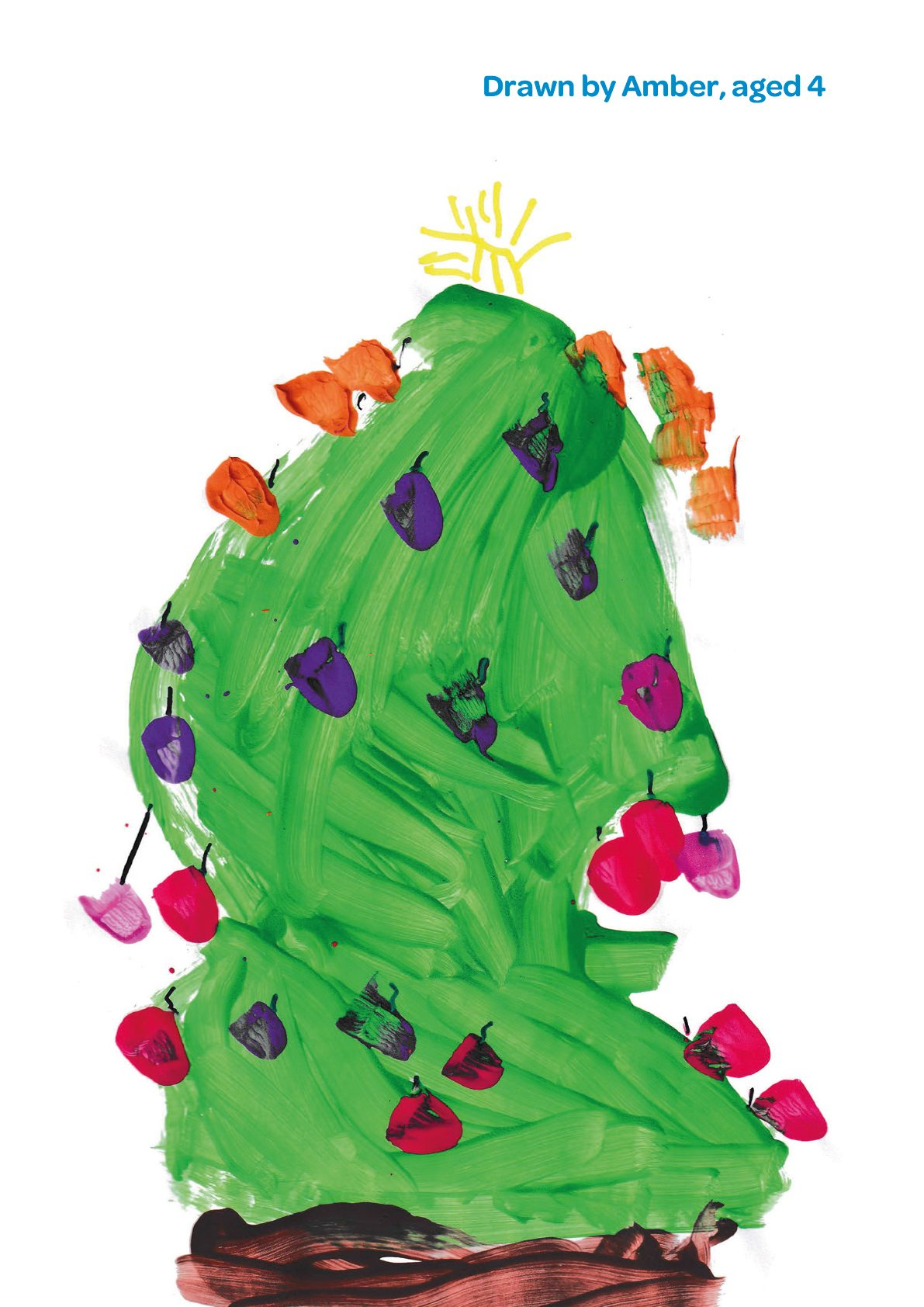A painting of a Christmas tree by Amber age 4