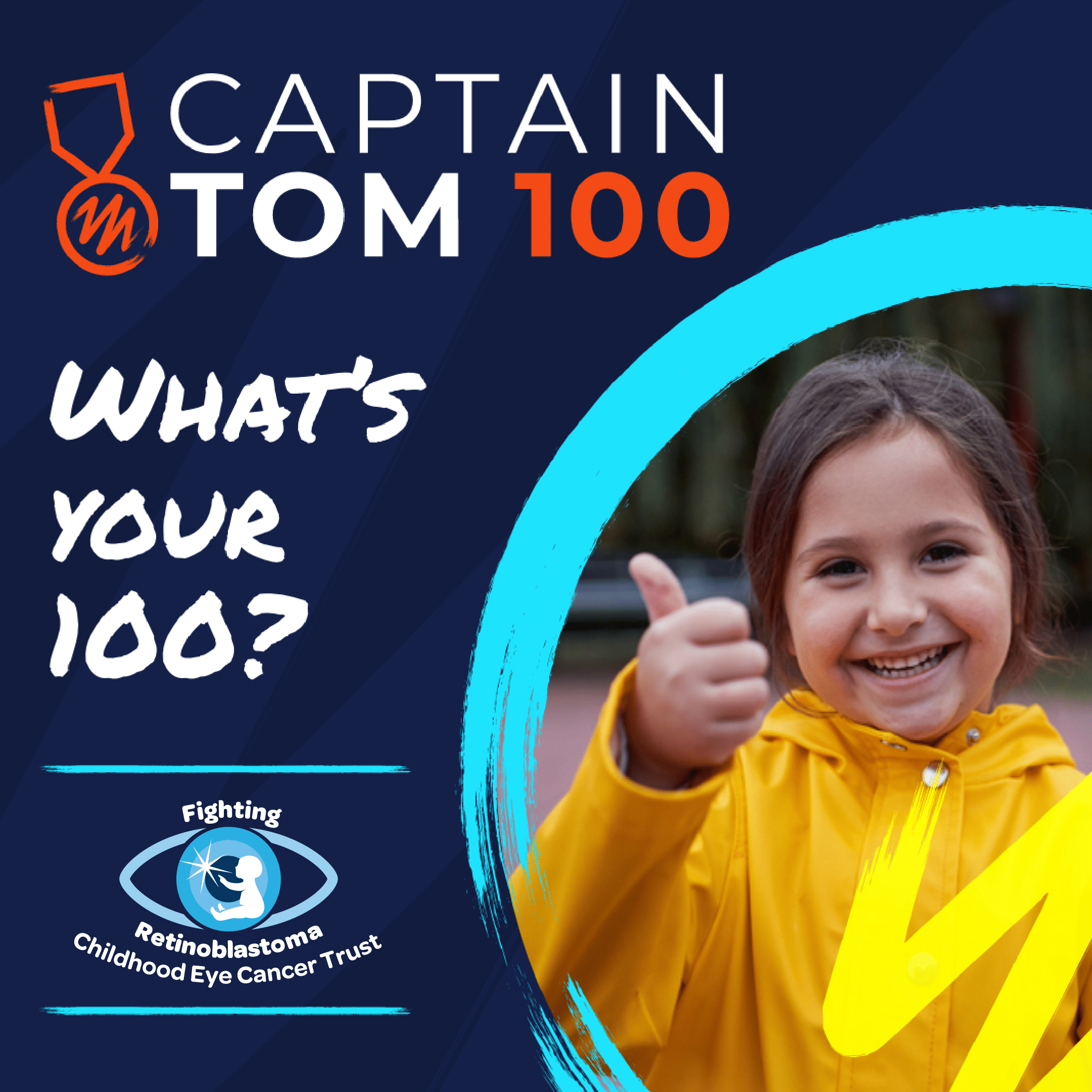 "A little girl is smiling and giving a thumbs up with the message ""what is your 100?"""