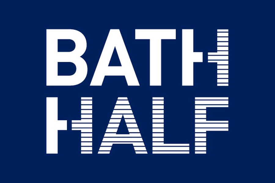 Bath Half marathon logo. Navy blue background with white capital letters.