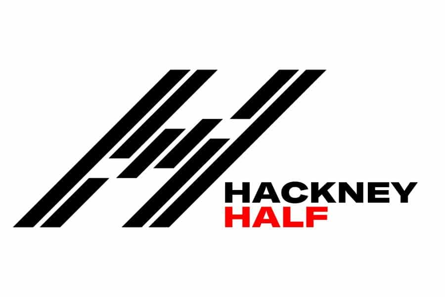 Hackney Half Marathon Logo. A massive slanted H with red and black text.