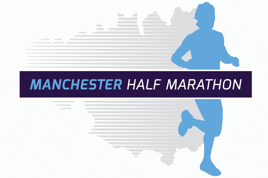 Manchester Half Marathon logo with a figure running across the shape of the county