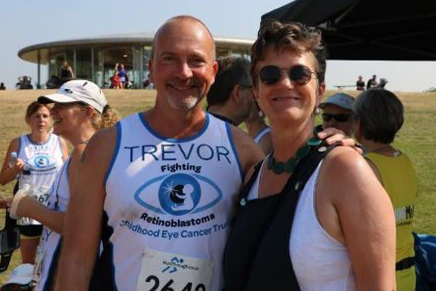 Happy smiles from Trevor and Jill pre RunThrough Regent's park in 2018. A hot hot hot day!