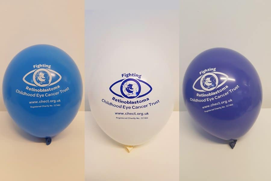 3 inflated CHECT balloons - White, light blue and dark blue.