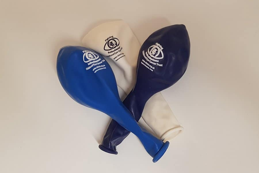 3 deflated CHECT balloons - White, light blue and dark blue.