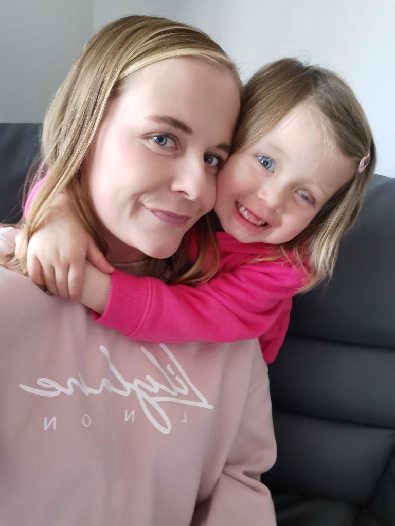 Evie Wedderburn with mum Kara